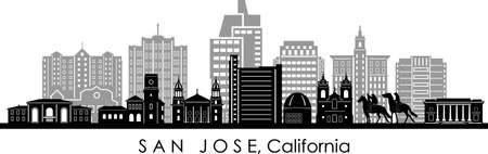 SAN JOSE City California Skyline Silhouette Cityscape Vector Illustration