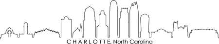 CHARLOTTE City North Carolina Skyline Silhouette Cityscape Vector
