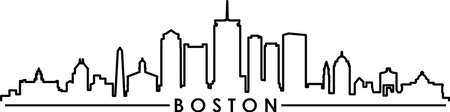BOSTON Massachusetts SKYLINE City Outline Silhouette