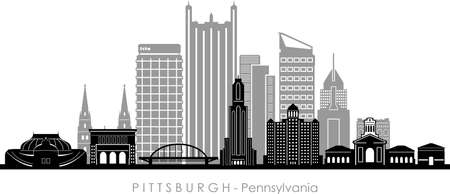 PITTSBURGH City Pennsylvania Skyline Silhouette Cityscape Vector
