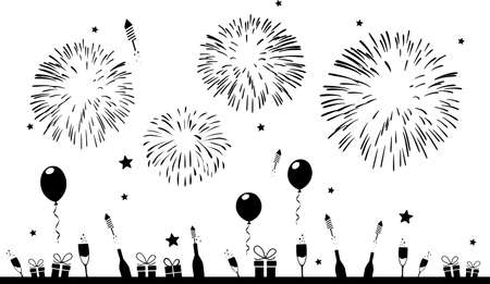 PARTY FIREWORKS celebration silhouette vector