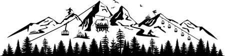 SKI WINTER MOUNTAIN lift silhouette vector