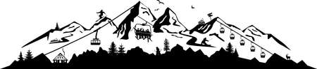 WINTER SKI MOUNTAIN SNOW silhouette vector