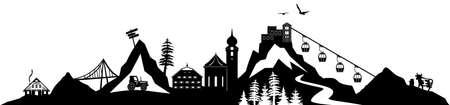 SAALBACH Hinterglemm Austria Summer Silhouette Vector Ilustração