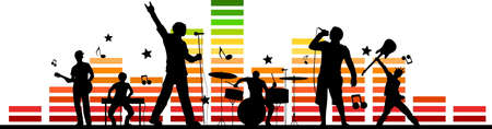 BAND STAGE music festival silhouette