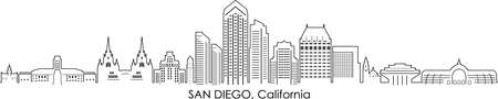 SAN DIEGO California SKYLINE City Outline Silhouette