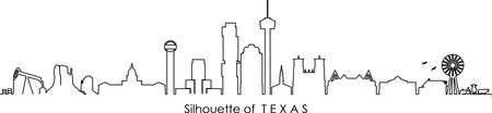 HOUSTON AUSTIN DALLAS SAN ANTONIO Texas SKYLINE City Outline Silhouette