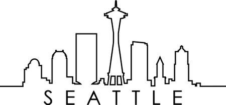 SEATTLE Washington SKYLINE City Outline Silhouette