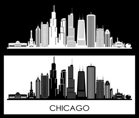 CHICAGO Illinois SKYLINE City Outline Silhouette Ilustração