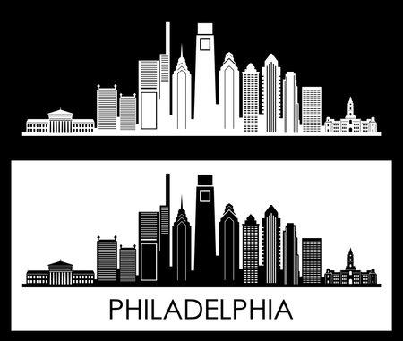 PHILADELPHIA Pennsylvania SKYLINE City Outline Silhouette