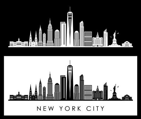 NEW YORK SKYLINE City Outline Silhouette