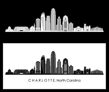 CHARLOTTE North Carolina SKYLINE City Silhouette Ilustração