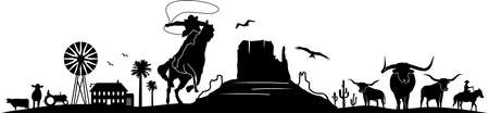 Cowboy Horse Riding Silhouette Vector