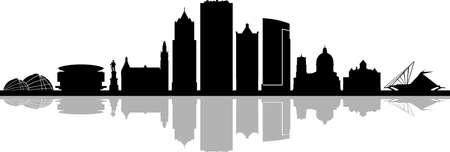 MILWAUKEE Wisconsin SKYLINE City Outline Silhouette