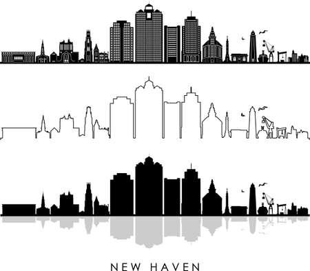 NEW HAVEN Connecticut SKYLINE City Outline Silhouette Ilustração