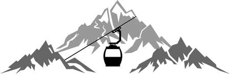 MOUNTAINS Cabin Lift Silhouette Vector
