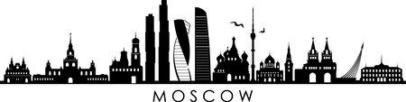 MOSCOW RUSSIA SKYLINE City Silhouette Ilustração
