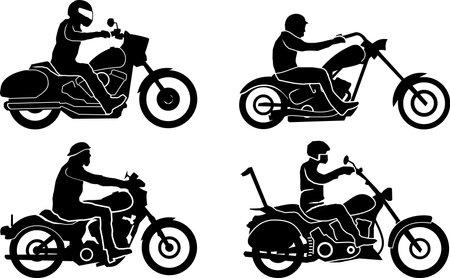 Motorbike Chopper Set Silhouette Vector