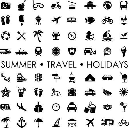 ICON SET summer travel holidays