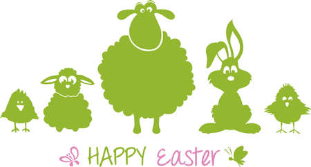 Happy Easter bunny grass silhouette vector