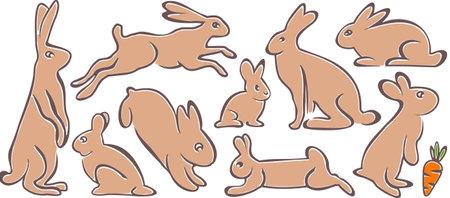 EASTER Bunny graphic silhouette Ilustração
