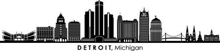 DETROIT Michigan USA City Skyline Vector Illustration