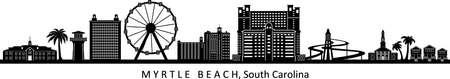 MYRTLE BEACH South Carolina Usa City Skyline Vector