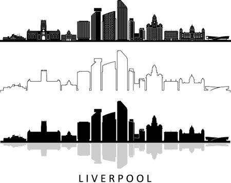 LIVERPOOL England United Kingdom City Skyline Vector