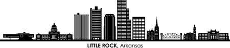 LITTLE ROCK Arkansas USA City Skyline Vector