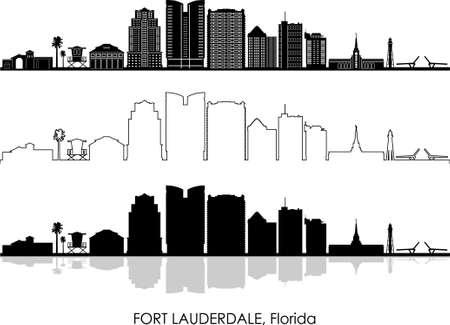 FORT LAUDERDALE  USA City Skyline Vector Illustration