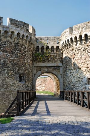 gate of ancient fortress Kalemegdan in Belgrade, Serbia photo