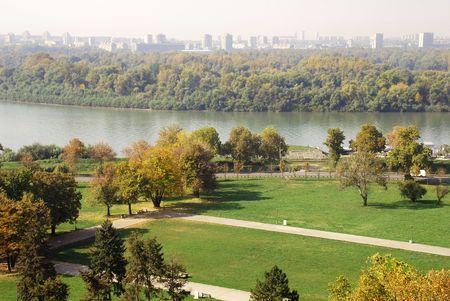 serbian: General urban view of Danube in autumn colors in Belgrade Stock Photo