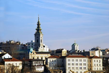 Buildings and church in center of Belgrade, Serbia Stock Photo