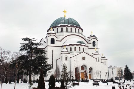 Orthodox church Sveti Sava in Belgrade, Serbia, in winter Stock Photo