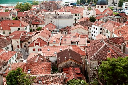 serbian: red roof od old town Kotor by Adriatic sea in Montenegro