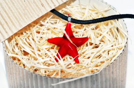 pasteboard: red starfish glass necklace in pasteboard box close up