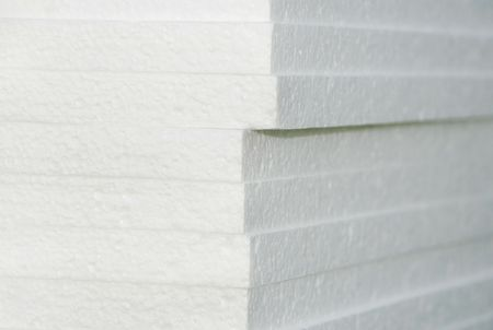 work material: white styrofoam tables pile corner, construction materials Stock Photo