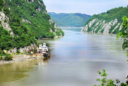 serbia: Scenic Danube value between Serbia and Romania