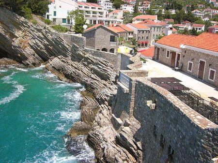 cityscape of Petrovac in Montenegro by Adriatic sea photo