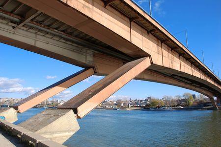 serbian:  bridge construction on Danube in Belgrade