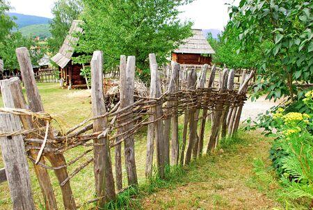 serbia landscape: Ethnic Serbia, wooden fence over rural landscape