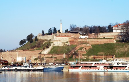 serbia: fortress over danube river in center of Belgrade, Serbia