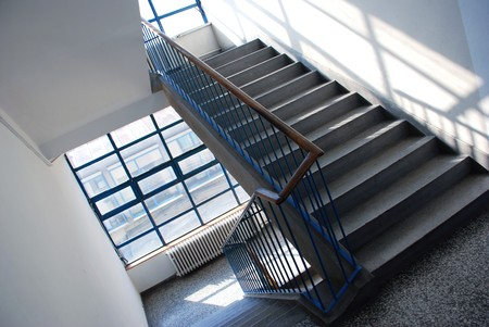interior of public building with gray staircase Stock Photo
