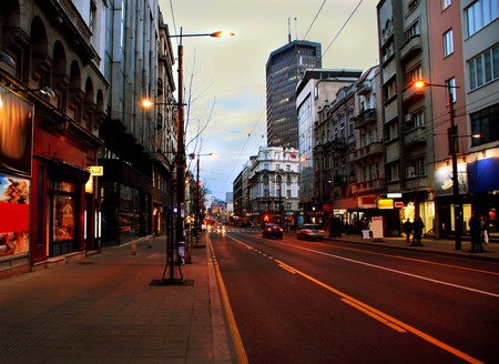 Urban landscape of evening street in Belgrade, Serbia