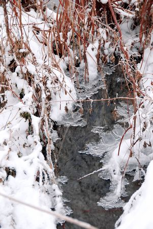 ice sheet: winter stream flowing through snow and ice Stock Photo