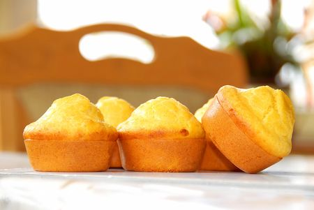 golden fresh appetizing bakery closeup on table