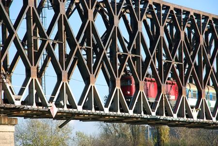 serbian: locomotive railway bridge construction on Danube in Belgrade