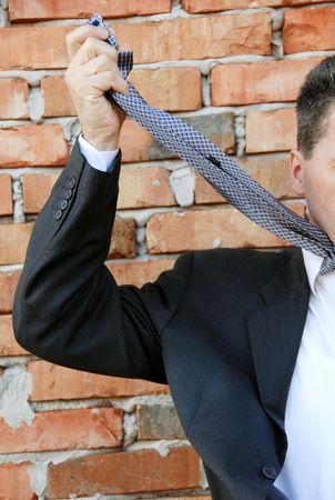 stifle: hopeless businessman Stock Photo
