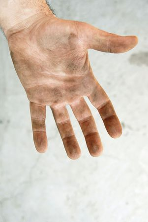 sully: man dirty hand closeup isolated on gray background