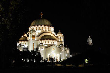 sveti: Sveti Sava cathedral at night in Belgrade, Serbia